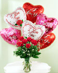 send gifts to bangladesh, send gift to bangladesh, banlgadeshi gifts, bangladeshi Rose & Balloon With Vase