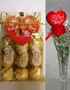 send gifts to bangladesh, send gift to bangladesh, banlgadeshi gifts, bangladeshi Ferrero Rocher & Valentines Rose