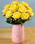 send gifts to bangladesh, send gift to bangladesh, banlgadeshi gifts, bangladeshi 24 Yellow Rose With Ceramic Vase