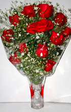 send gifts to bangladesh, send gift to bangladesh, banlgadeshi gifts, bangladeshi 12 Rose with Vase
