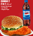 send gifts to bangladesh, send gift to bangladesh, banlgadeshi gifts, bangladeshi KFC - 2 in 1 Meal (Chicken & Burger)