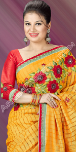send gifts to bangladesh, send gift to bangladesh, banlgadeshi gifts, bangladeshi Yellow Half Silk Saree