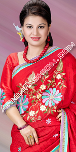 send gifts to bangladesh, send gift to bangladesh, banlgadeshi gifts, bangladeshi Red Half Silk Saree