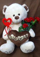 send gifts to bangladesh, send gift to bangladesh, banlgadeshi gifts, bangladeshi Love Teddy With Art Rose & Love Stick
