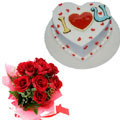 send gifts to bangladesh, send gift to bangladesh, banlgadeshi gifts, bangladeshi Cake+Rose Combo